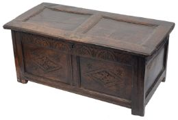 An early 18th century small joined oak coffer