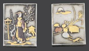 A pair of late 19th/early 20th century Japanese Shakudo mixed metal cufflinks