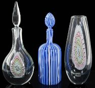 An Italian Murano glass blue and white striped hexagonal decanter and stopper; one other