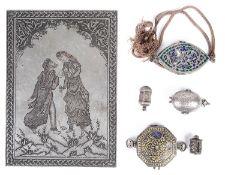 A 19th century Persian silver miniature enamelled silver Koran box,