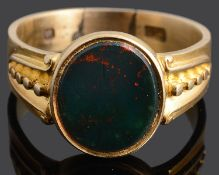 A Gentleman's 9ct gold bloodstone ring