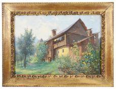Otakar Lebeda (Czech, 1877-1901) 'Home in landscape', oil on canvas