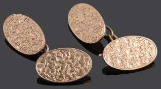 A pair of 9ct rose gold chain linked cufflinks