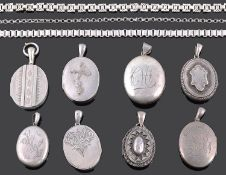 A collection of mainly Victorian hinged oval picture lockets