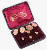 A set of Edwardian cased, rose gold cufflinks and studs