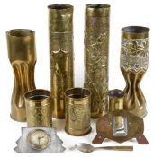 A collection of First War brass Trench Art