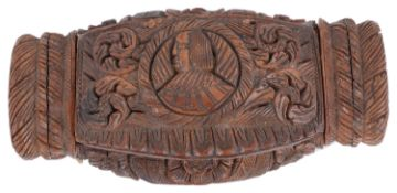 A late 18th century Fr. carved coquilla nut snuff box