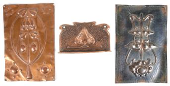 Two Arts and Crafts repousse gilt metal panels