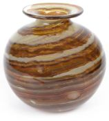 A large 1970s Isle of Wight Glass tortoiseshell banded vase