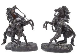 After Guillaume Coustou, (1677- 1746) pair of late 19th/20th century patinated bronze Marley horses