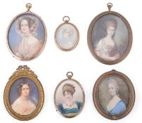 Six late 19th/early 20th century mostly continental portrait miniatures