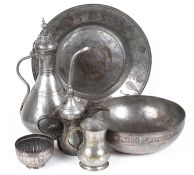A collection of Islamic tinned copper metalware