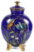 A late 19th century Aesthetic blue glass and enamelled vase and cover in the manner of Moser