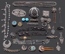 A collection of Georgian and later cut steel and related jewellery