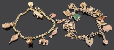 A delicate gold charm bracelet and another charm bracelet