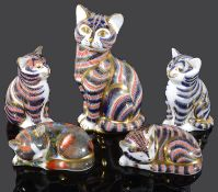 Five Royal Crown Derby Imari figures of cats