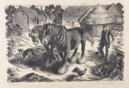Agnes Miller-Parker (Brit., 1895-1980) 'Farmyard' a wood engraving