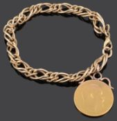 A 9ct gold fancy link bracelet with full sovereign