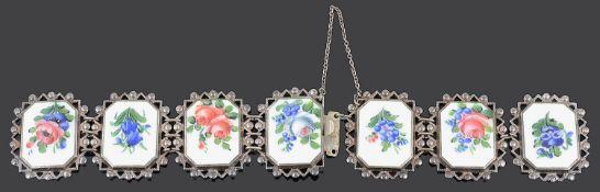 A David Andersen sterling silver and enamel panel bracelet