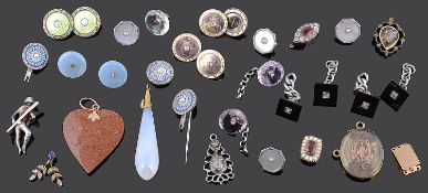 A collection of Georgian and later, diamond set and other buttons, pendants, clasps etc...