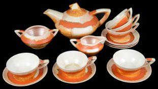 A German 1930s Art Deco Carstens Uffrecht pottery tea service