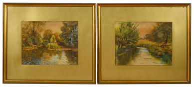 F Osborne (Brit.) A pair of watercolours of river autumnal scenes