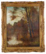 Dan Sherrin (Brit., 1868-1940) 'View of lake', oil on canvas