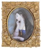 Early 19th century Brit. School portrait miniature of a young woman