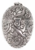 A Victorian silver egg shaped sewing etui