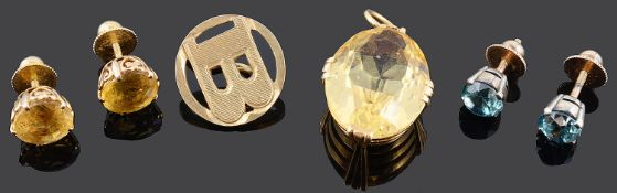 A Continental yellow metal and citrine pendant and ear studs