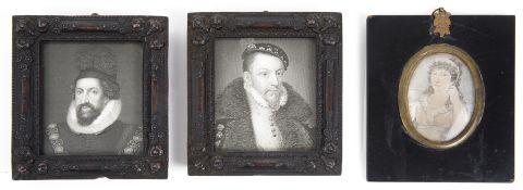 Early19th c. Brit. School portrait miniature of woman in regency dress