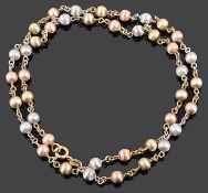 A contemporary Italian Chiampesan 9ct tricolour gold beaded necklace