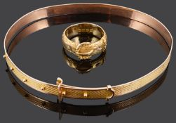 A Victorian gentleman's 18ct gold buckle ring, Chester 1899