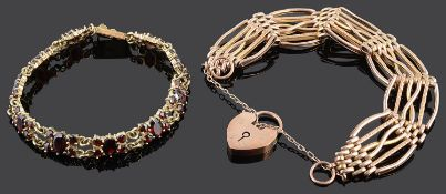 A 9ct gold six bar gate bracelet with safety chain
