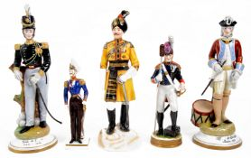 Five porcelain figures of soldiers