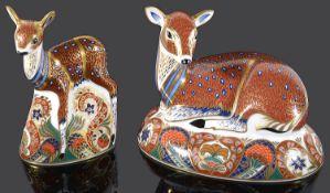 Two Royal Crown Derby deer Imari paper weights