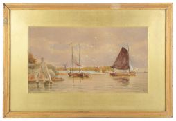 Late 19th c. Brit. School 'Coastal watercolour with barges', signed