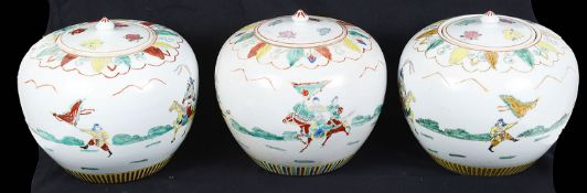 Three late 20th century Chinese famille verte porcelain ginger jars and covers