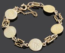 A Continental yellow metal 'coin' bracelet