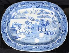 Two early 19th century Staffordshire Pearl ware printed Willow pattern meat dishes c.1830