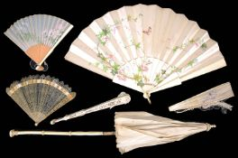 19th century horn brise fan, four other Continental and Oriental fans and an ivory and silk parasol
