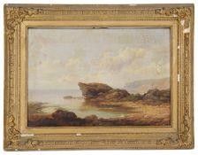 19th c. Brit. School 'View of a rocky coastal seashore', oil on canvas
