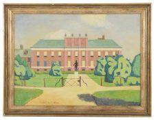 Elwin Hawthorne (Brit., 1905-54) 'Kensington Palace', oil on board