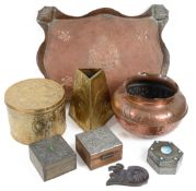 A collection of Arts and Crafts metal ware