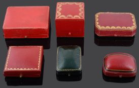 Six vintage jewellery boxes including Asprey
