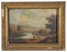 19th c. Brit. school landscapes, oil on board