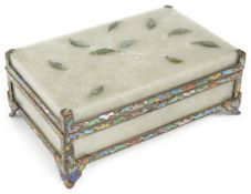 An early 20th Century Chinese celadon jadeite and enamelled silver gilt mounted table cigarette box