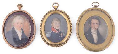 Three early 19th century portrait miniatures