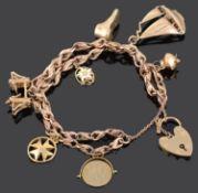 A 9ct gold fancy link charm bracelet