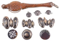 Pair of Georgian tortoiseshell pique inlaid lorgnettes; a collection of Victorian and later pique